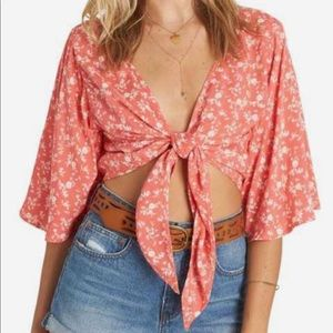 Billabong get it twisted tie front top vtg coral M